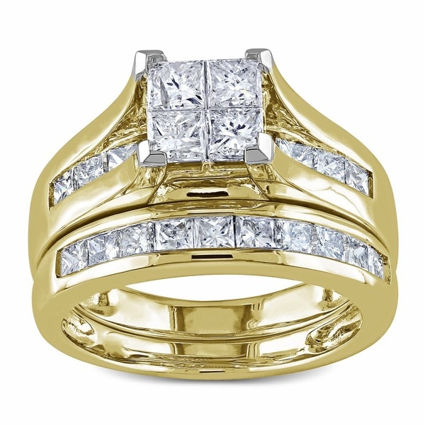 miadora 14k gold 2ct tdw diamond princess cut bridal ring set h i i2 - 14k Gold Wedding Ring Sets