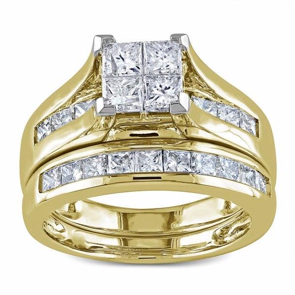 Miadora Signature Collection 14k Gold 2ct TDW Diamond Princess Cut Bridal Ring Set (H-I, I2-I3)