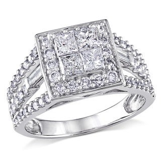 Miadora Signature Collection 14k White Gold 1 1/2ct TDW Princess Diamond Ring (H-I, I2-I3)