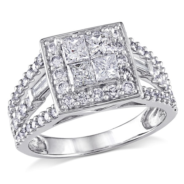 Miadora Signature Collection 14k White Gold 1 1/2ct TDW Princess Diamond Ring