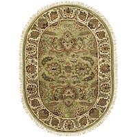 "Safavieh Handmade Classic Jaipur Green/ Ivory Wool Rug - 4'6"" x 6'6"" oval"