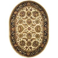 "Safavieh Handmade Classic Heirloom Ivory/ Navy Wool Rug - 4'6"" x 6'6"" oval"