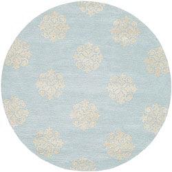 Safavieh Handmade Soho Medallion Light Blue N. Z. Wool Rug (8' Round)