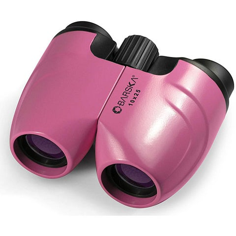 Barska 10x25 Pink Compact Focus-free Sport Binoculars with Pouch