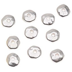 Beadaholique Silverplated Pewter Nugget Heishe Spacer 6-mm Beads (Pack of 20)
