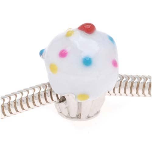 Beadaholique Silvertone with White Enamel Cupcake Beads (Pack of 2)
