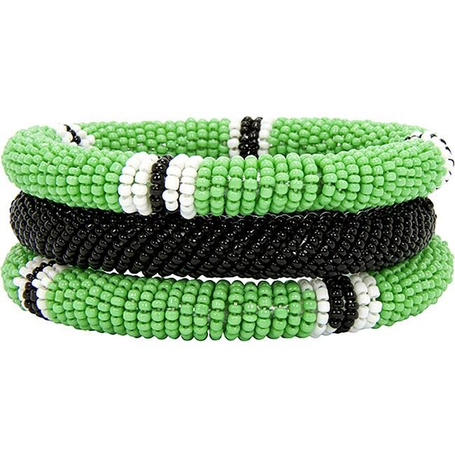 Green and Black 3-piece Massai Bangle Set (Kenya)