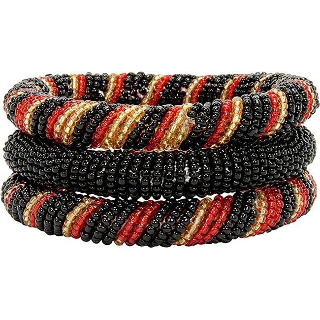Red and Black 3-piece Massai Bangle Set (Kenya) - Thumbnail 0