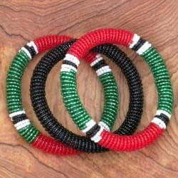 Red/ Green/ Black 3-piece Massai Bangle Set (Kenya) - Thumbnail 1