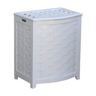 White Bowed Front Veneer Wood Laundry Hamper with Interior Bag 1026