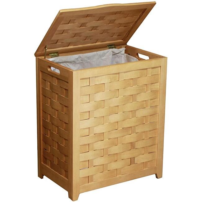 Natural Finished Rectangular Veneer Laundry Wood Hamper with Interior Bag