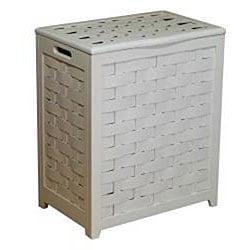 White Rectangular Veneer Wood Laundry Hamper with Interior Bag 1057