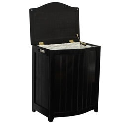 Mahogany-finished Bowed Front Wood Laundry Hamper with Interior Bag