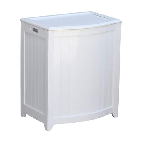 White Bowed Front Wood Laundry Hamper with Interior Bag