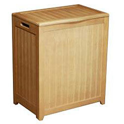 Natural-finished Rectangular Wood Laundry Hamper with Interior Bag 1095 - Thumbnail 1