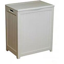 White Rectangular Wood Laundry Hamper with Interior Bag - Thumbnail 1