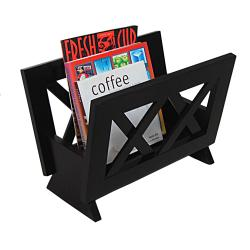 Contemporary Mahogany Solid Wood Magazine Rack - Thumbnail 1