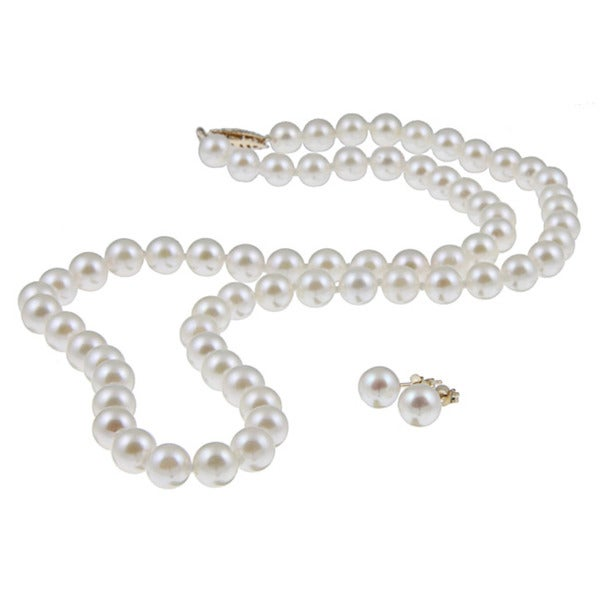 DaVonna 14k Gold 5.5-6mm Akoya Pearl Necklace-Earring Set (18 in) with Gift Box
