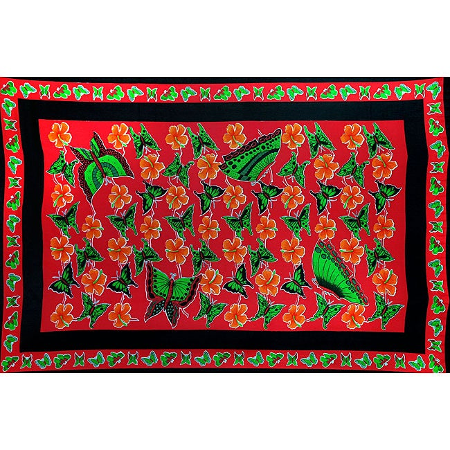 Handmade 1 World Sarongs Women's Red and Green Butterfly Floral Sarong (Indonesia)