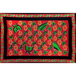 1 World Sarongs Women's Red and Green Butterfly Floral Sarong (Indonesia)