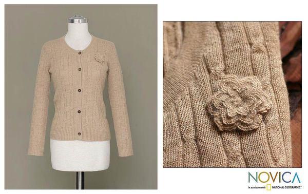 Alpaca Wool 'Beige Nature' Sweater (Peru)