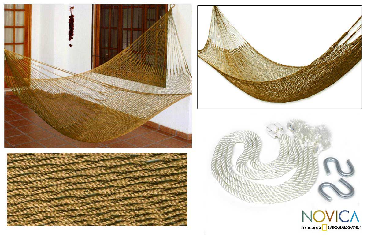 Summer Sun Outdoor Beach Garden Patio Pool Bronze Tone Durable Unique Handmade Knotted Rope Style Nylon Single Hammock (Mexico)