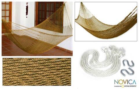 Handmade Summer Sun Knotted Rope Hammock (Mexico)