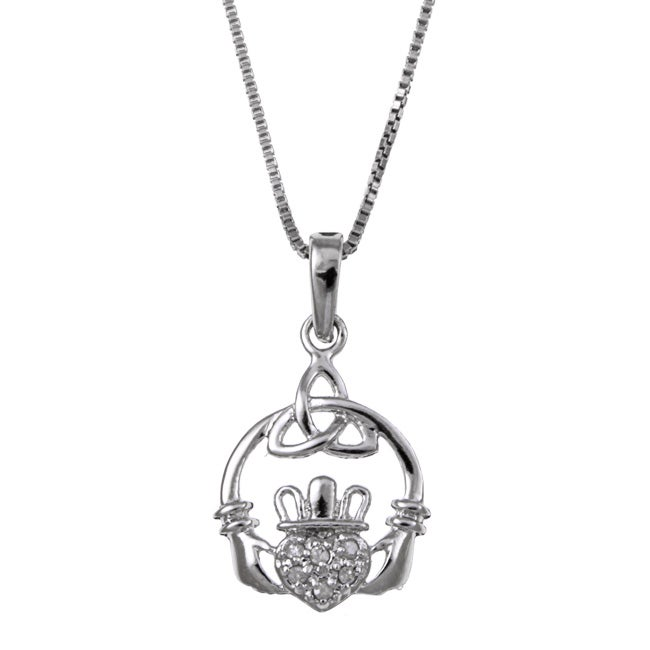 Sterling Silver Diamond Accent Claddagh Necklace