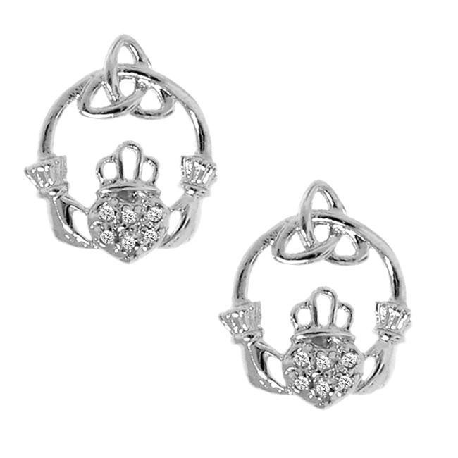 Sterling Silver Diamond Accent Claddagh and Celtic Knot Earrings