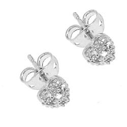 Sterling Silver Cubic Zirconia Pave Heart Stud Earrings - Thumbnail 1