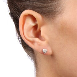 Sterling Silver Cubic Zirconia Pave Heart Stud Earrings - Thumbnail 2