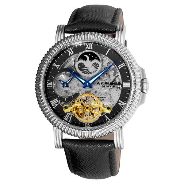 Akribos XXIV Men's Automatic Dual-Time Skeleton Black-Silver-Tone Strap Round Watch