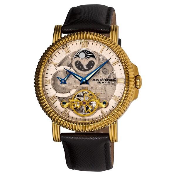 Akribos XXIV Men's Black/Gold Automatic Dual Time Skeleton Round Strap Watch