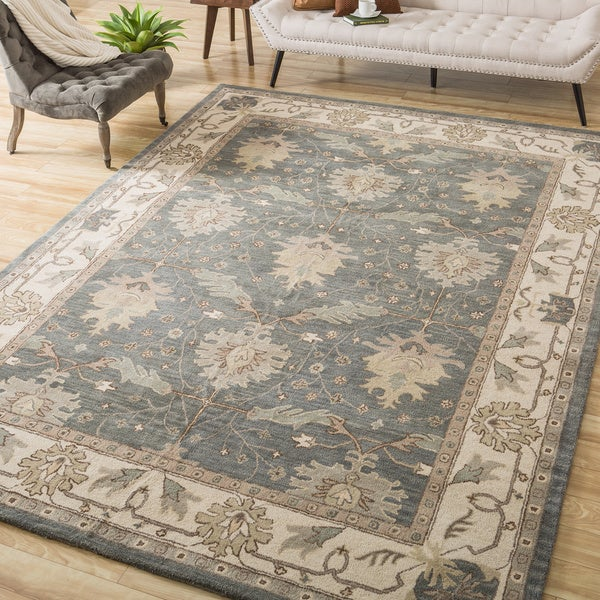 Nourison hand tufted caspian blue wool rug 8 39 x 10 39 6 for 7 x 9 dining room rugs