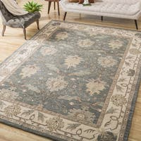 Gracewood Hollow Garwood Hand-tufted Grey and Blue Wool Rug (8' x 10'6)