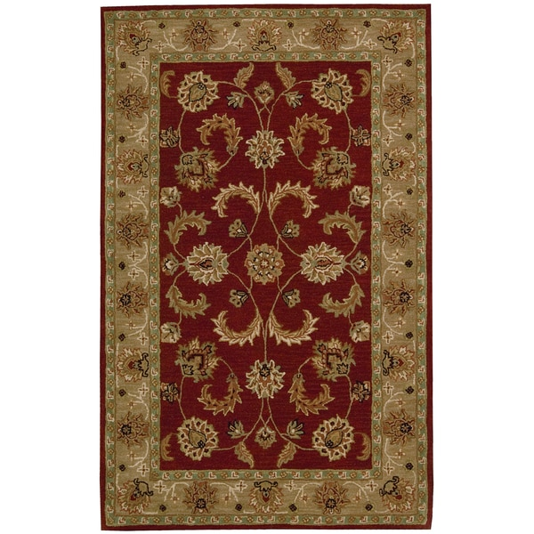 """Nourison Hand-Tufted Caspian Red Wool Area Rug (3'6"""" x 5'6"""")"""