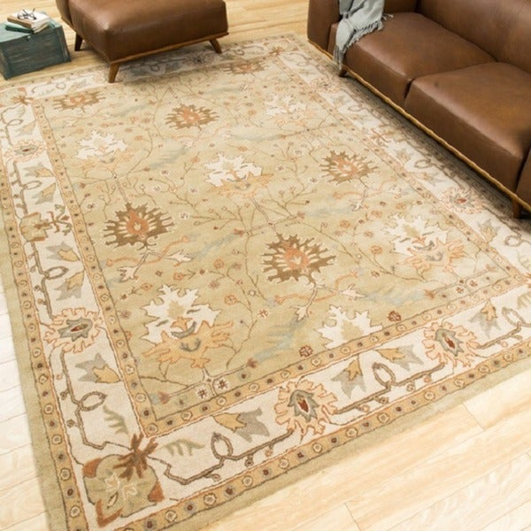 Shop Nourison Caspian Hand Tufted Sage Green Wool Rug 5