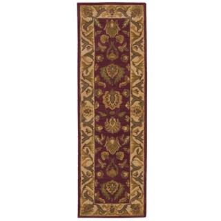Nourison Hand-tufted Caspian Burgundy Wool Rug (2'3 x 7'6)