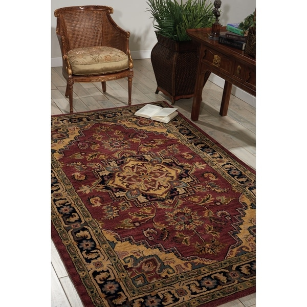 Shop Nourison Hand Tufted Caspian Dark Red Wool Rug 5 X