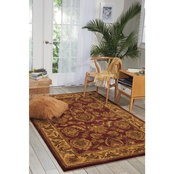 "Nourison Hand-Tufted Caspian Burgundy Wool Area Rug (8' x 10'6"") - 8' x 10'6"