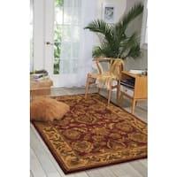 "Nourison Hand-tufted Caspian Burgundy Wool Rug (3'6 x 5'6) - 3'6"" x 5'6"""