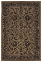 Nourison Hand-tufted Caspian Gold Wool Rug (3'6 x 5'6) - Thumbnail 1