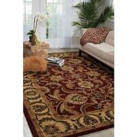 Nourison Hand-tufted Caspian Burgundy Wool Rug (8' x 10'6) - 8' x 10'6