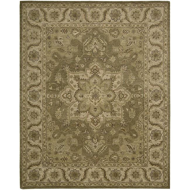 Nourison Hand-tufted Caspian Olive Wool Rug (3'6 x 5'6)