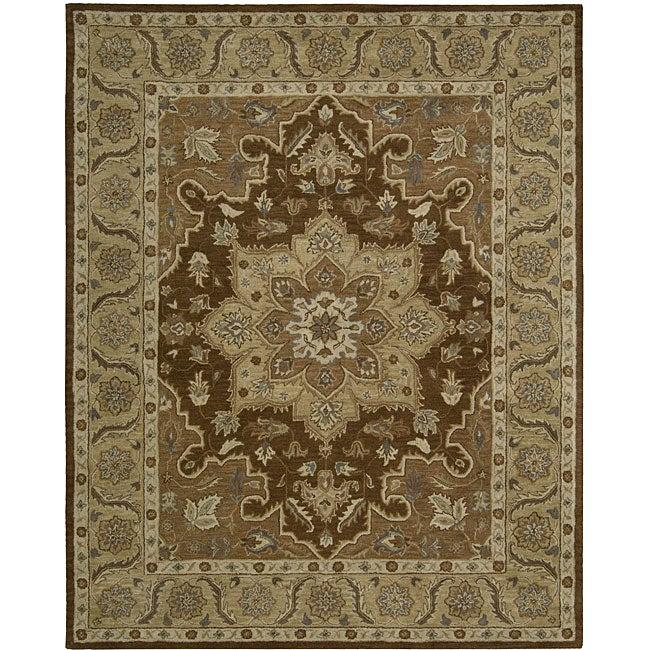 Nourison Hand-tufted Caspian Brown Floral Rug (8' x 10'6)