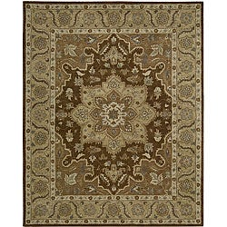 Nourison Hand-tufted Caspian Brown Floral Rug (8' x 10'6)