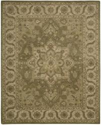 Nourison Hand-tufted Caspian Olive Wool Rug (8' x 10'6) - Thumbnail 1