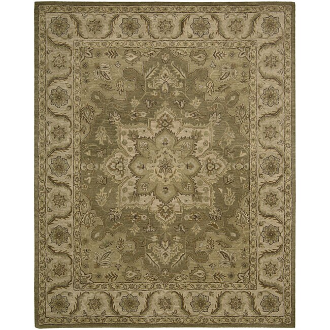 Nourison Hand-tufted Caspian Olive Wool Rug (8' x 10'6)
