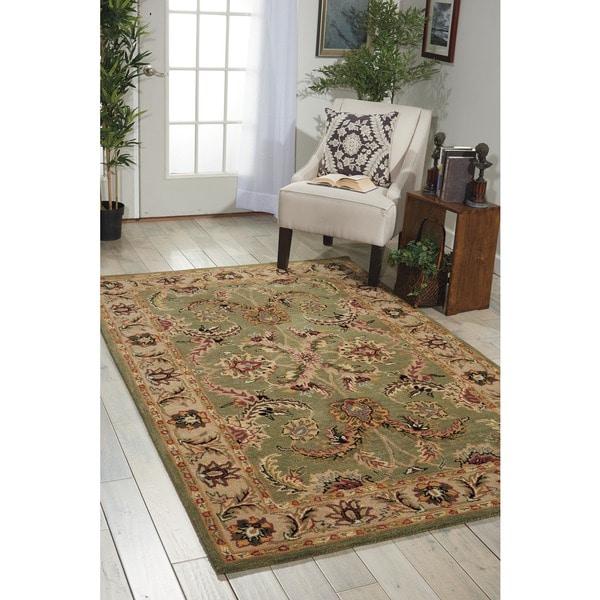 Nourison Hand-tufted Caspian Green Floral Wool Rug (5' x 8') - 5' x 8'