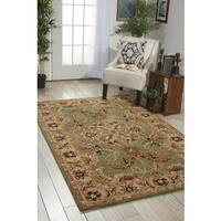 Nourison Hand-tufted Caspian Green Floral Wool Rug - 5' x 8'
